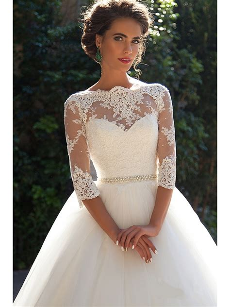 Bridal Gowns With Sleeves by Gown 3 4 Sleeves Lace Wedding Dresses Bridal Gowns