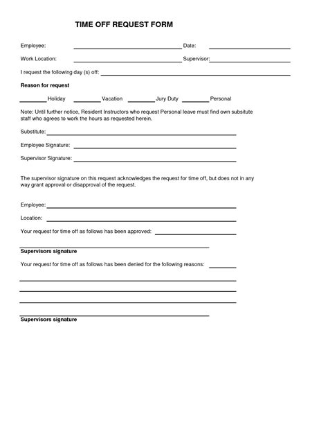 paid time off request form fillable printable top forms to