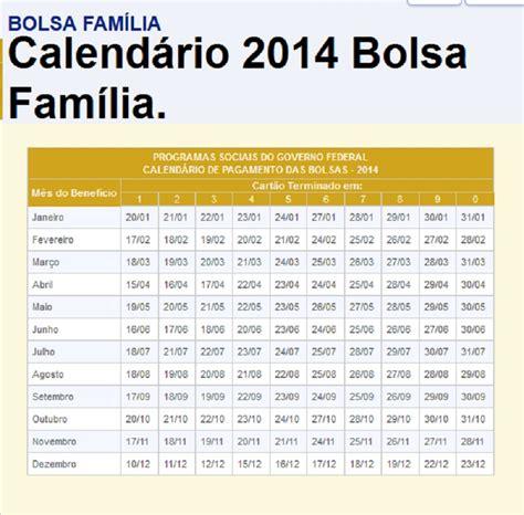 Calendario Bolsa Familia 2014 Calend 193 2014 Bolsa Fam 205 Lia Todas As Datas De