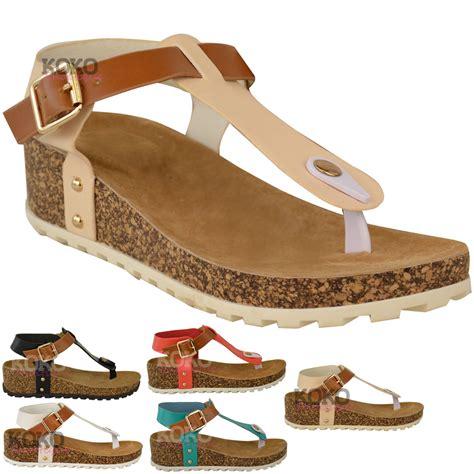 new womens wedge comfort sandals cushioned flip