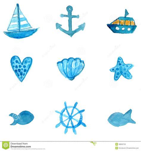 vector watercolor fish patterns download free vector art simple nautical watercolor icons anchor ship star fish