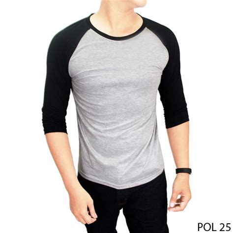 Sleave Kaos Lengan Panjang Three Second kaos raglan lengan 3 4 best seller elevenia