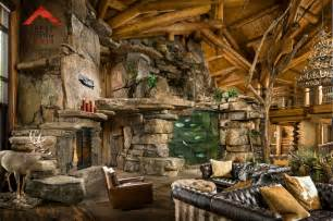 Lodge style living rocky mountain homes rustic living room