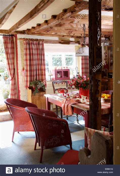 Pink Drapes Dining Room Pink Checked Curtains In Cottage Dining Room With
