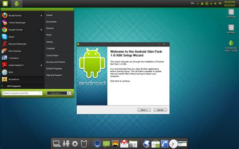 downloads android android skin pack disguises windows 7 as an android launcher