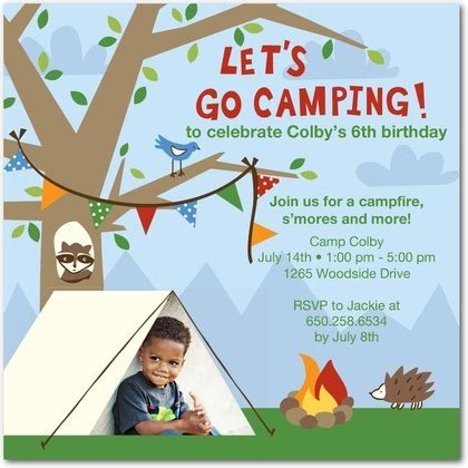 Campout Birthday Party Invitations Ideas Free Printable