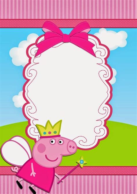 Pin By Michelle Sonnen On Coolest Invitation Templates Pinterest Pig Birthday And Peppa Pig Peppa Pig Template