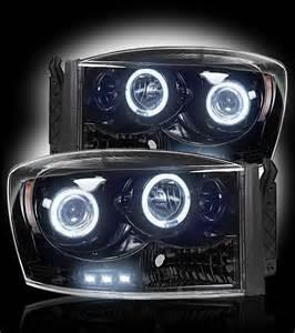 dodge ram 2500 3500 smoked projector headlights recon 264199bk