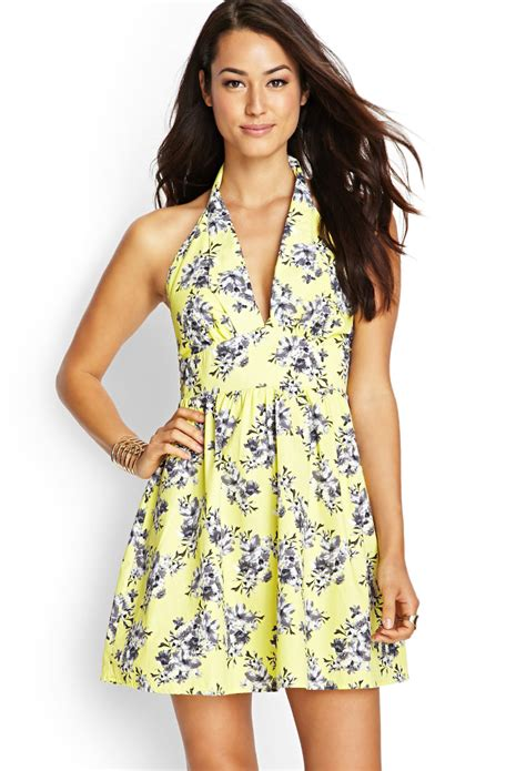 Trend Worth Trying Smocked Patterned Sundresses by Lyst Forever 21 Contemporary Floral Halter Dress In Yellow