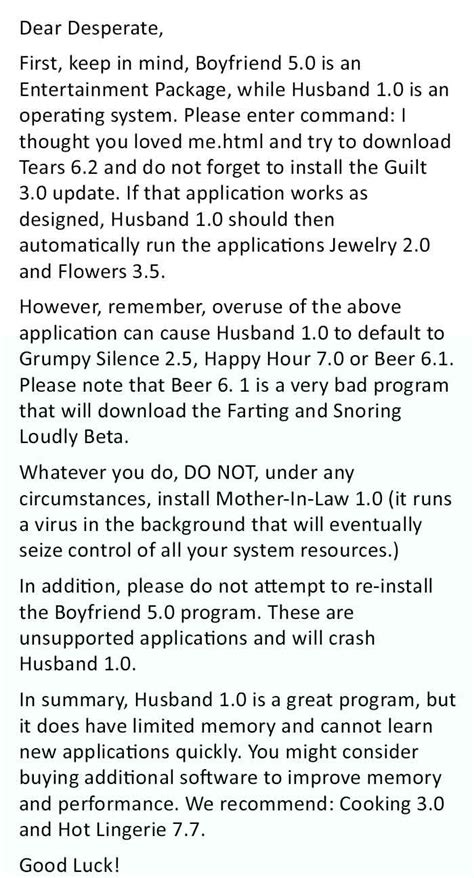 Support Letter From To Husband Best Reply To A Relationship Complain This Is Genius