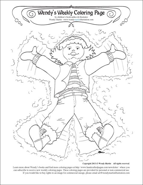 making a snow angel coloring page