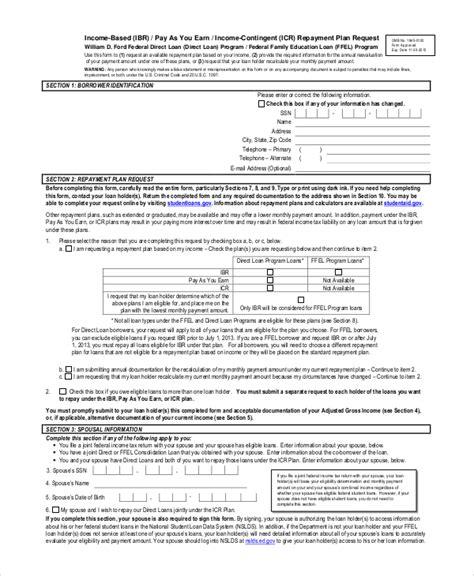 Resume Based Application Sle Income Based Repayment Form 6 Exles In Pdf Ibr Alternative Documentation Salt
