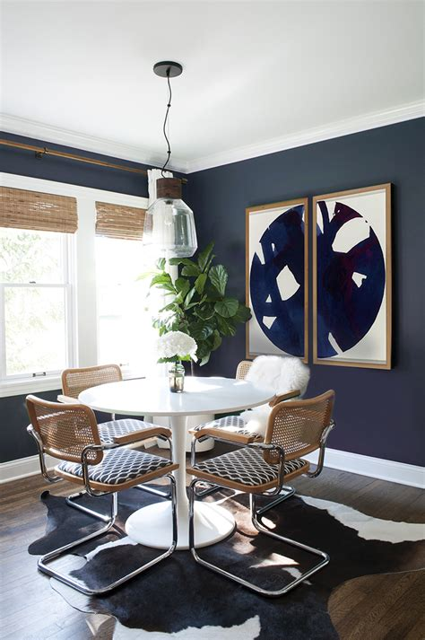 navy dining room  large scale art room  tuesday