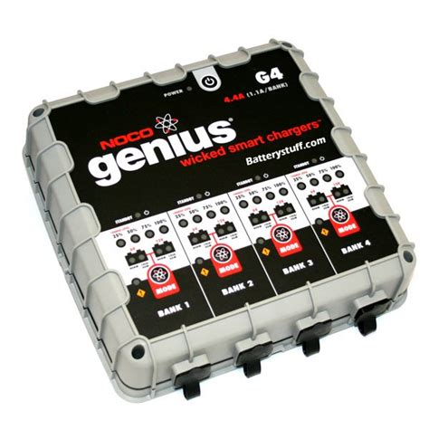 4 bank charger noco genius g4 4 bank 1 1a 6 12 volt battery charger