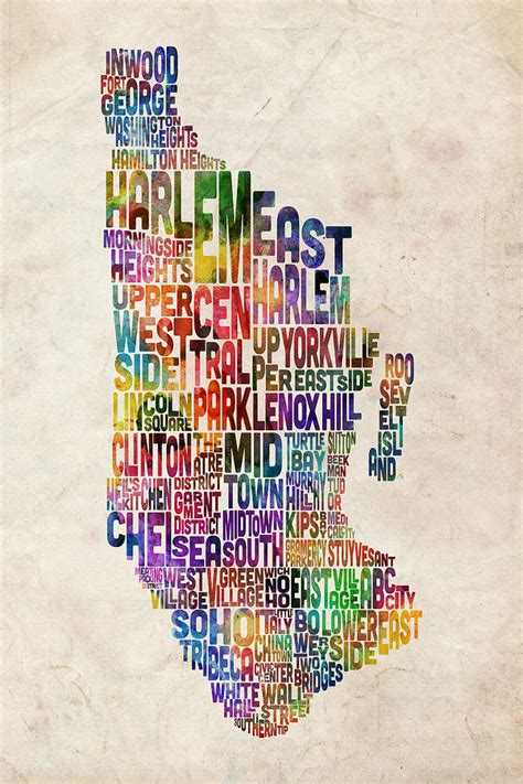 typography nyc manhattan new york typographic map digital by michael