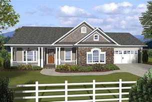 Covered Porch House Plans by 3 Bedroom Ranch With Covered Porches 20108ga 1st Floor