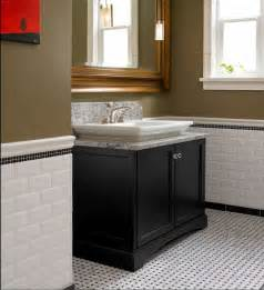 carrara basket weave tile wainscoting bathroom