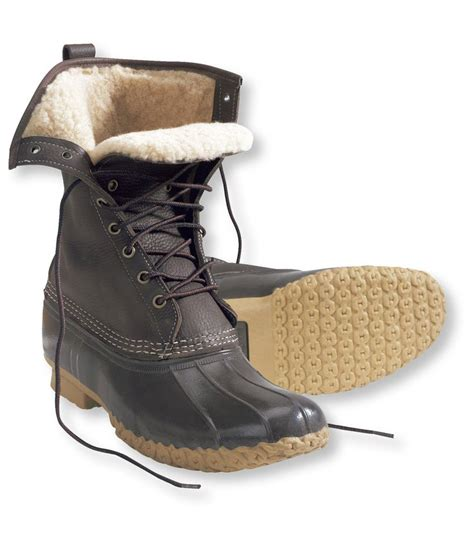 ll bean mens winter boots chocolate foldover bean boots lined in shearling my
