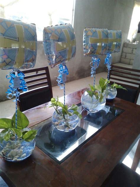 centros de mesa con peces bautizo babyshower