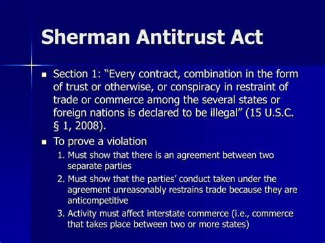 Section 1 Sherman Act by Ppt Antitrust Powerpoint Presentation Id 4448834