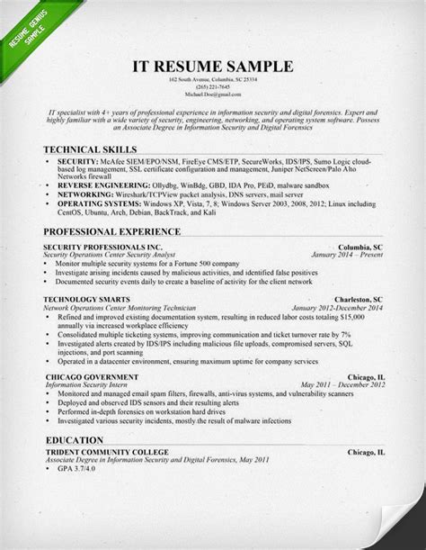 Resume For It by Information Technology It Resume Sle Resume Genius