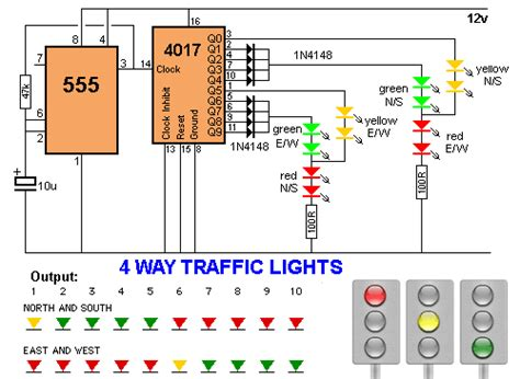 two way 12 led s running lights using 4017 and 555 astable 30 led projects