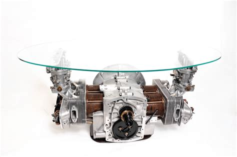automotive home decor car guy garage porsche 356 engine block coffee table