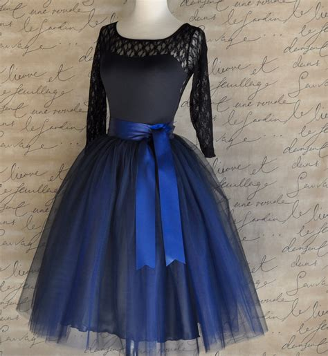 Vallenia Dress Big Size Blue navy blue tulle skirt tutu for lined in black satin with