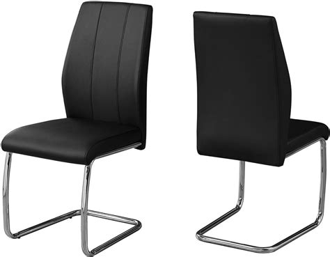 Black And Chrome Dining Chairs Black And Chrome 39 Quot H Dining Chair Set Of 2 From Monarch Coleman Furniture