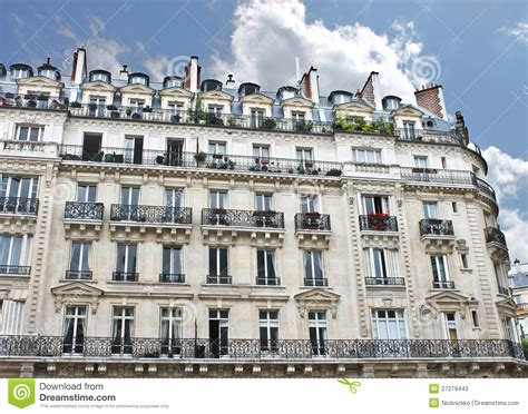 French European House Plans facade of a traditional building in paris stock photos