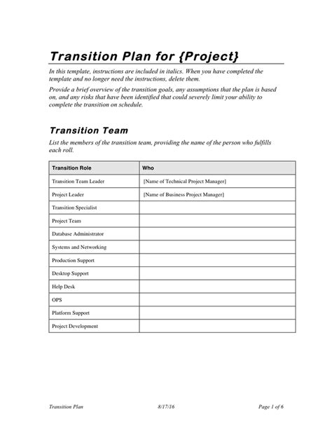 transition report template project transition plan template in word and pdf formats