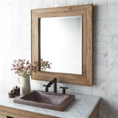 wooden bathroom mirror reclaimed wood bathroom mirror wb designs