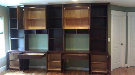 bookcase with built in desks modern family room