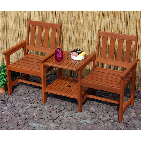 tete a tete bench hardwood garden patio companion set love seat two chairs