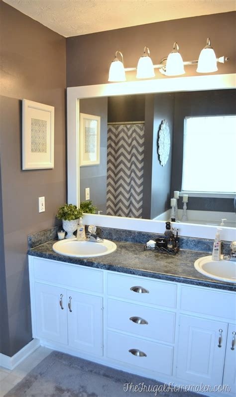 Bathroom Mirrors For Less How To Frame Out That Builder Basic Bathroom Mirror For