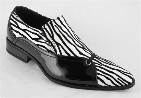 mens patent leather look slip on dress shoes black white