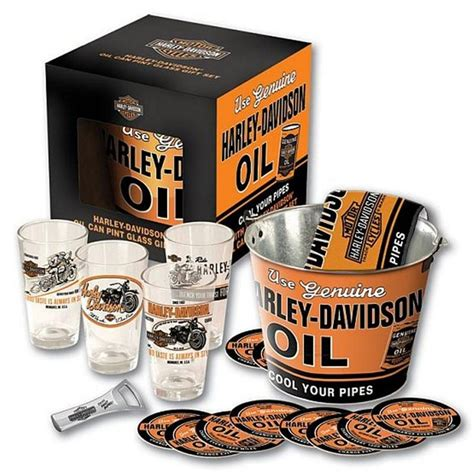 harley davidson barware harley davidson 174 oil can pint glass bucket set hdl 18700