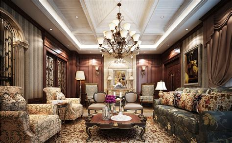 British Neoclassical Interior Wooden Walls And Fabric Sofa | garden style living room fabric sofa download 3d house