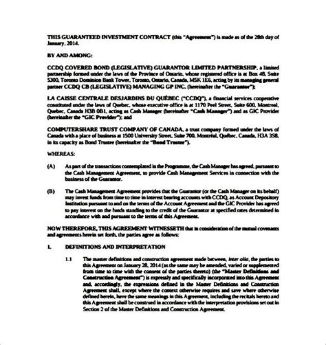 guaranteed investment contract template sle templates