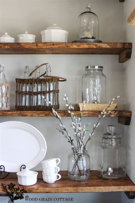 how to decorate open shelves beauteous barn wooden unfinished open shelving for kitchen