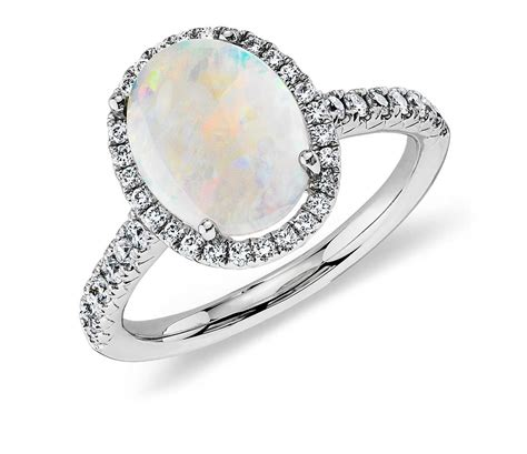 opal and ring in 18k white gold 10x8mm blue nile