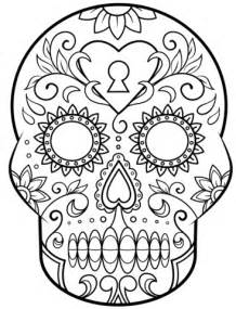 Day Of The Dead Calavera Outline by Day Of The Dead Sugar Skull Coloring Page Free Printable Coloring Pages