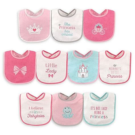 Luvable Friends Droller Bib With Closure luvable friends 174 10 pack princess drooler bibs with peva back in pink buybuy baby