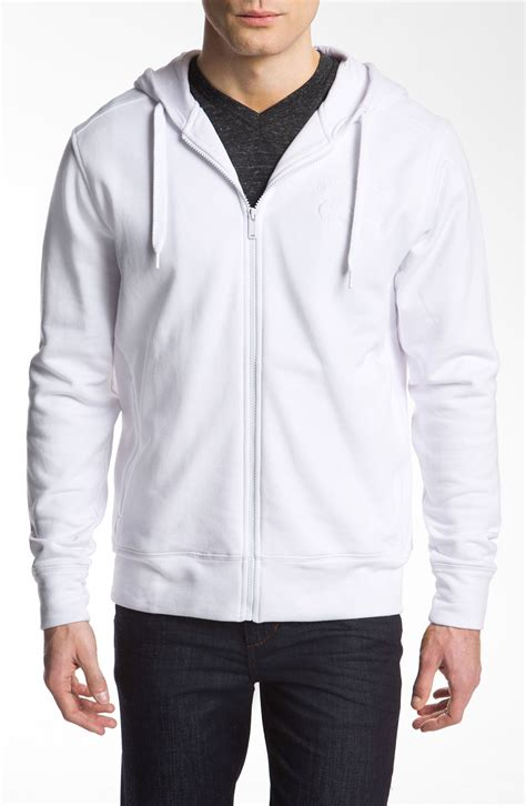lacoste zip hoodie in white for lyst