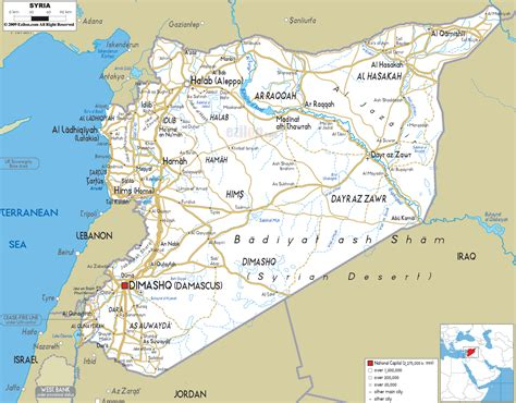 Maps Of Syria by Road Map Of Syria Ezilon Maps