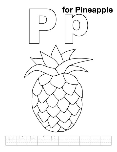 coloring book for a p p for pineapple coloring page with handwriting practice