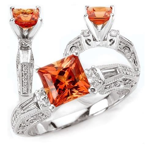 custom 18k chatham 7mm princess cut padparadscha orange