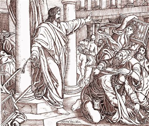 coloring page jesus cleansing temple jesus cleansing the temple drawing by norma boeckler