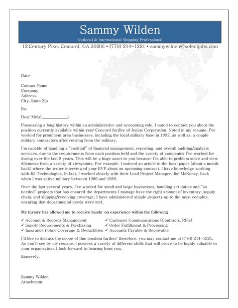cover letter exle professional cover letter exle for shipping receiving professional