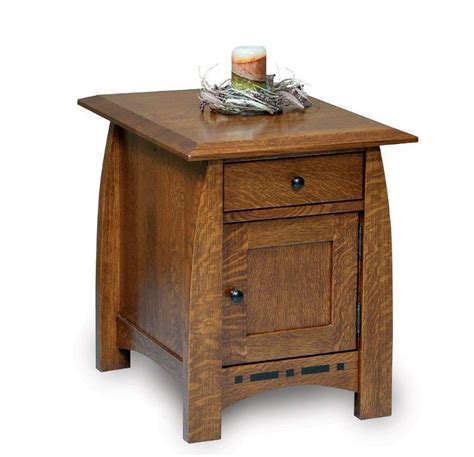 End Table With Door by Amish Boulder Creek Enclosed End Table With Drawer And Door